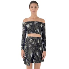 Metallic Silver Satin Off Shoulder Top With Skirt Set
