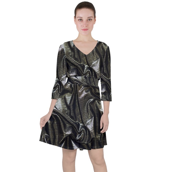 Metallic Silver Satin Ruffle Dress