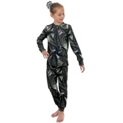 Metallic Silver Satin Kids  Long Sleeve Set