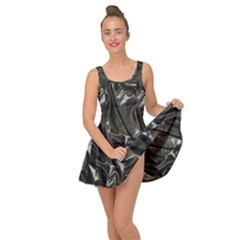 Metallic Silver Satin Inside Out Casual Dress