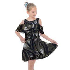 Metallic Silver Satin Kids  Shoulder Cutout Chiffon Dress by retrotoomoderndesigns