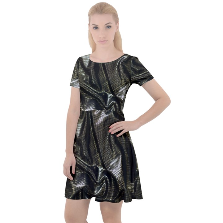 Metallic Silver Satin Cap Sleeve Velour Dress