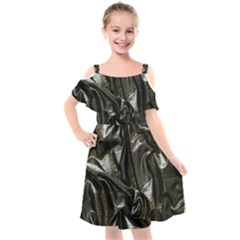 Metallic Silver Satin Kids  Cut Out Shoulders Chiffon Dress by retrotoomoderndesigns