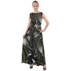 Metallic Silver Satin Chiffon Mesh Boho Maxi Dress