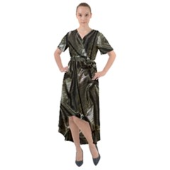 Metallic Silver Satin Front Wrap High Low Dress by retrotoomoderndesigns