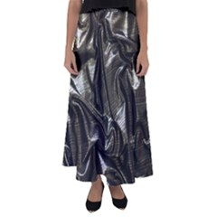 Metallic Silver Satin Flared Maxi Skirt by retrotoomoderndesigns