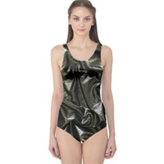 Metallic Silver Satin One Piece Swimsuit by retrotoomoderndesigns