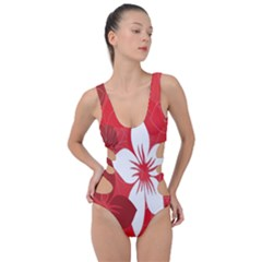 Tropical Red Flowers Side Cut Out Swimsuit by retrotoomoderndesigns