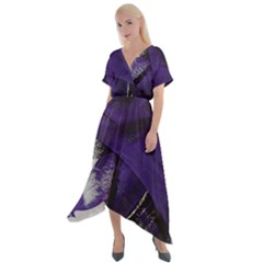 Violet Cross Front Sharkbite Hem Maxi Dress