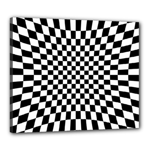 Illusion Checkerboard Black And White Pattern Canvas 24  X 20  (stretched)