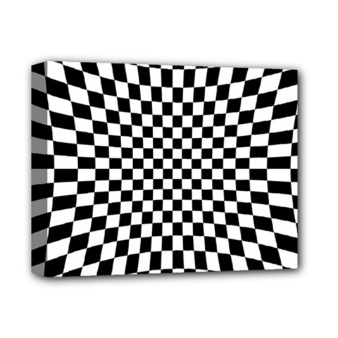 Illusion Checkerboard Black And White Pattern Deluxe Canvas 14  X 11  (stretched)