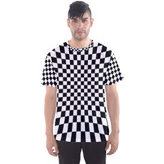 Illusion Checkerboard Black And White Pattern Men s Sports Mesh Tee