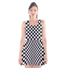 Illusion Checkerboard Black And White Pattern Scoop Neck Skater Dress