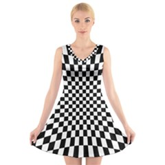 Illusion Checkerboard Black And White Pattern V Neck Sleeveless Dress