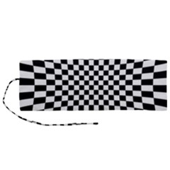 Illusion Checkerboard Black And White Pattern Roll Up Canvas Pencil Holder (m) by Vaneshart