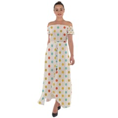 Polka Dots Dot Spots Off Shoulder Open Front Chiffon Dress