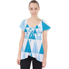 Abstract Modern Background Blue Lace Front Dolly Top