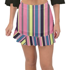 Stripes Colorful Wallpaper Seamless Fishtail Mini Chiffon Skirt