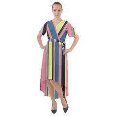 Stripes Colorful Wallpaper Seamless Front Wrap High Low Dress