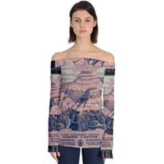 Vintage Travel Poster Grand Canyon Off Shoulder Long Sleeve Top