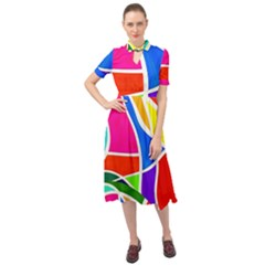 Abstract Background Keyhole Neckline Chiffon Dress