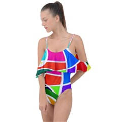 Abstract Background Drape Piece Swimsuit