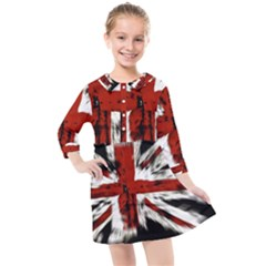 British Flag Kids  Quarter Sleeve Shirt Dress