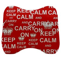 Keep Calm And Carry On Velour Head Support Cushion