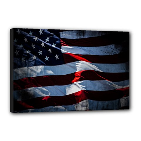 Grunge American Flag Canvas 18  X 12  (stretched)