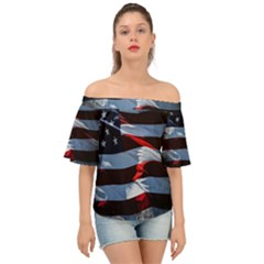 Grunge American Flag Off Shoulder Short Sleeve Top