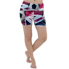 Soccer Ball With Great Britain Flag Lightweight Velour Yoga Shorts by Vaneshart