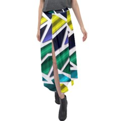Mosaic Shapes Velour Split Maxi Skirt by Vaneshart