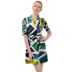 Mosaic Shapes Belted Shirt Dress