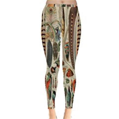 Feathers Birds Vintage Art Inside Out Leggings