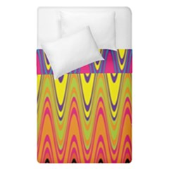 Retro Colorful Waves Background Duvet Cover Double Side (single Size) by Vaneshart