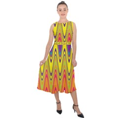 Retro Colorful Waves Background Midi Tie Back Chiffon Dress