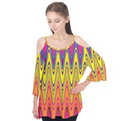 Retro Colorful Waves Background Flutter Tees