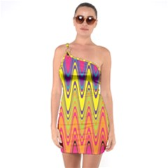 Retro Colorful Waves Background One Soulder Bodycon Dress