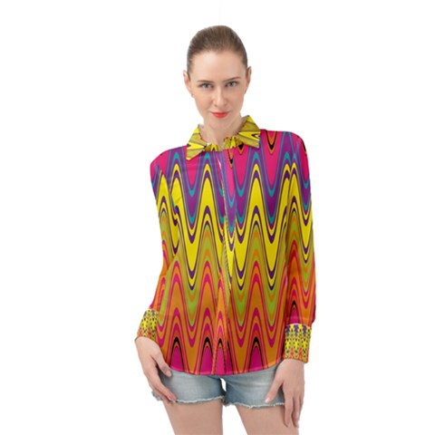 Retro Colorful Waves Background Long Sleeve Chiffon Shirt by Vaneshart