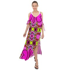 Abstract Background Pattern Maxi Chiffon Cover Up Dress