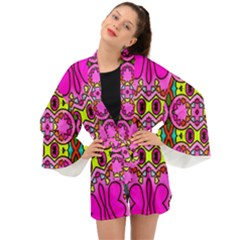 Abstract Background Pattern Long Sleeve Kimono