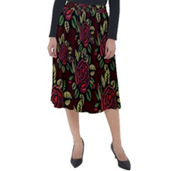 Flower Seamless Tile Background Classic Velour Midi Skirt