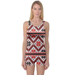 Folklore Ethnic Pattern Background One Piece Boyleg Swimsuit