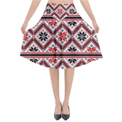 Folklore Ethnic Pattern Background Flared Midi Skirt