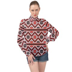 Folklore Ethnic Pattern Background High Neck Long Sleeve Chiffon Top by Vaneshart