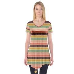 Vintage Stripes Lines Background Short Sleeve Tunic