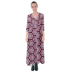 Background Pattern Tile Flower Button Up Maxi Dress