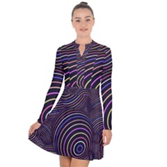 Abtract Colorful Spheres Long Sleeve Panel Dress