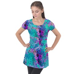 Background Texture Pattern Puff Sleeve Tunic Top