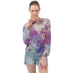 Floral Vintage Wallpaper Pattern Banded Bottom Chiffon Top